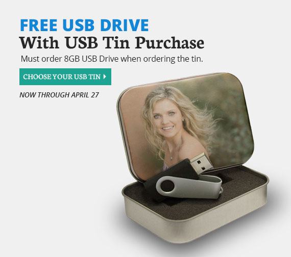 Free USB Drive with the purchase of a USB Tin, now through April 27.